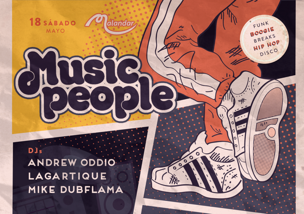 Flyer for Andrew OdDio, Lagartique, & Mike Dubflama - Music People - Sala Malandar - 18 de Mayo 2019