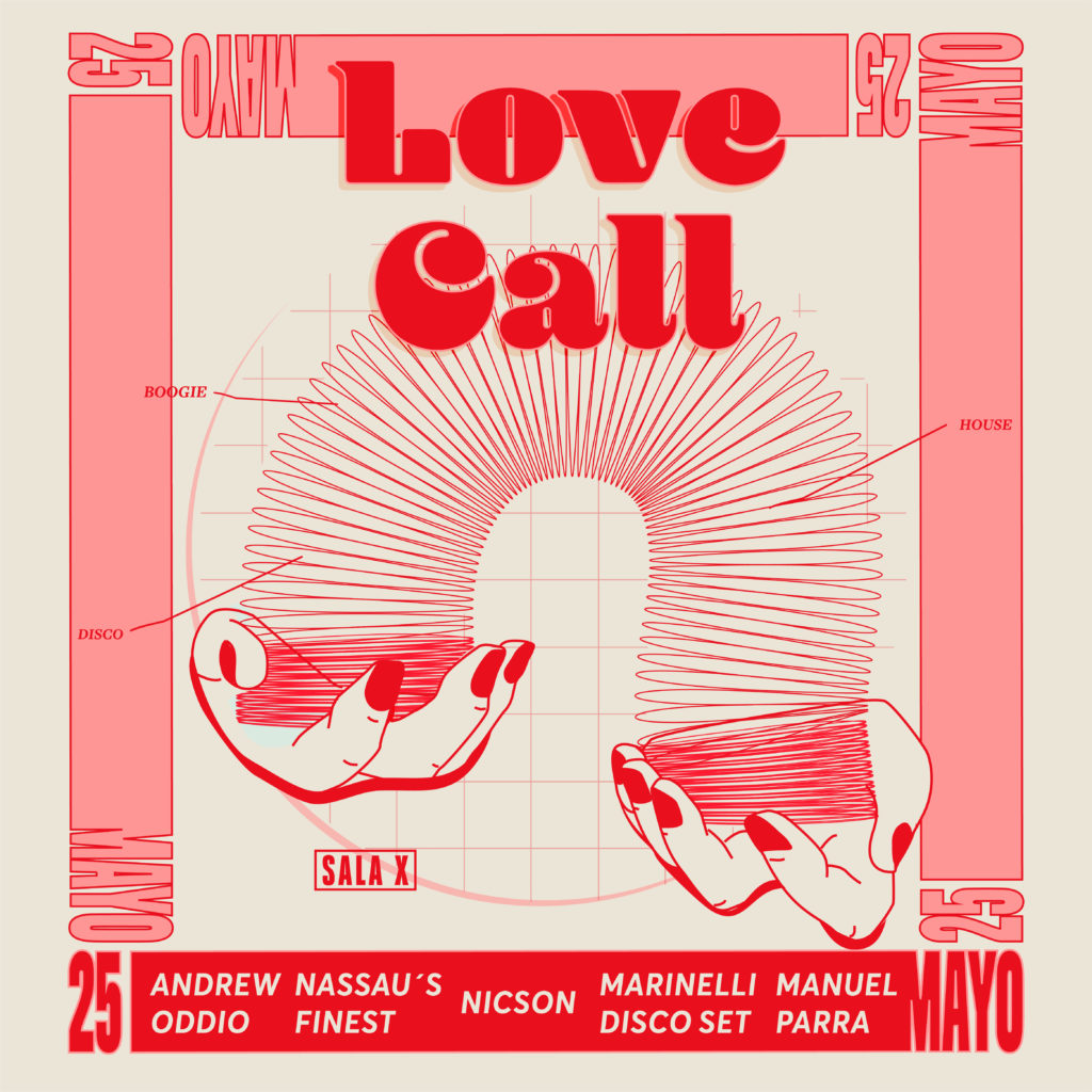 Love Call flyer May 2019 - Seville's best disco & house dance night.  DJs Andrew Oddio, Nassau's Finest, Nicson, Marinelli Disco Set, Manuel Parra