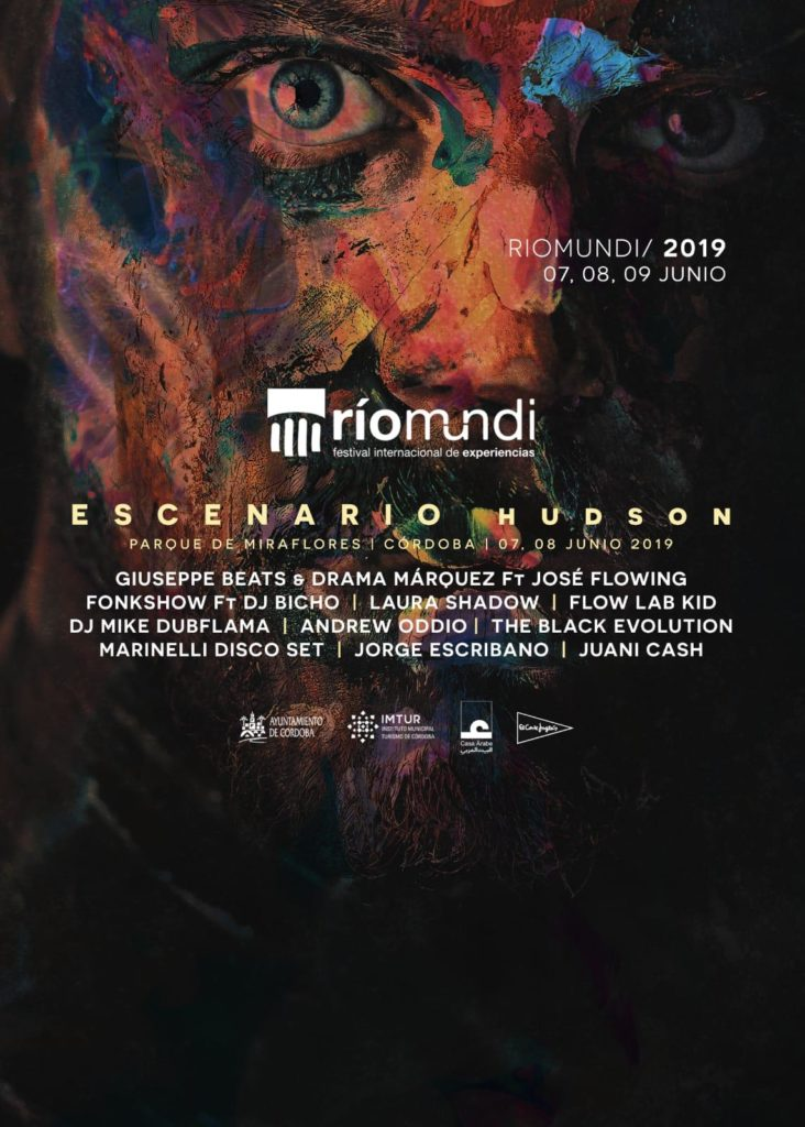 Riomund Hudson Flyer 2019 Andrew Oddio - Mike Dubflama - Laura Shadow - Jorge Esribano - Marinelli Disco Set - The Black Evolution - Juani Cash - Flow Lab Kid