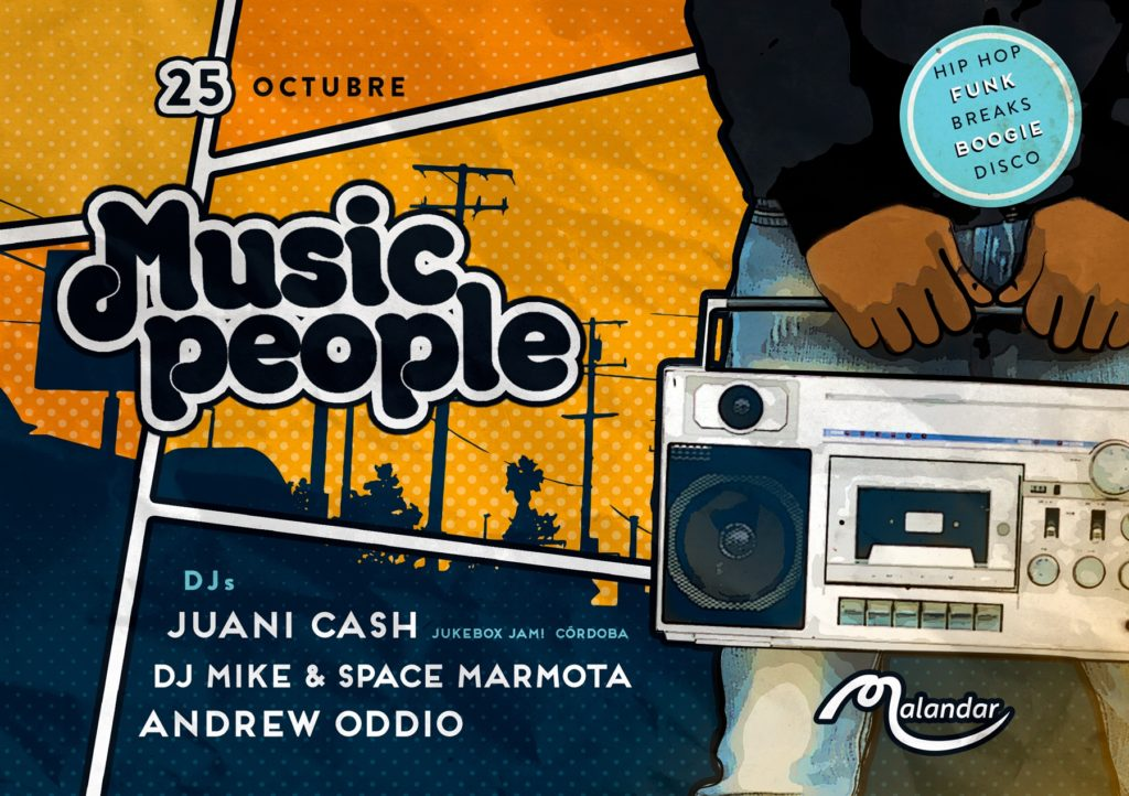 Music People - 25 October 2019 flyer - Juani Cash, DJ Mike & Space Marmota, & Andrew Oddio