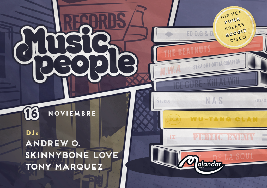 Music People 16, 2019 Flyer - Andrew Oddio, Skinnybone Love, & Tony Marquez