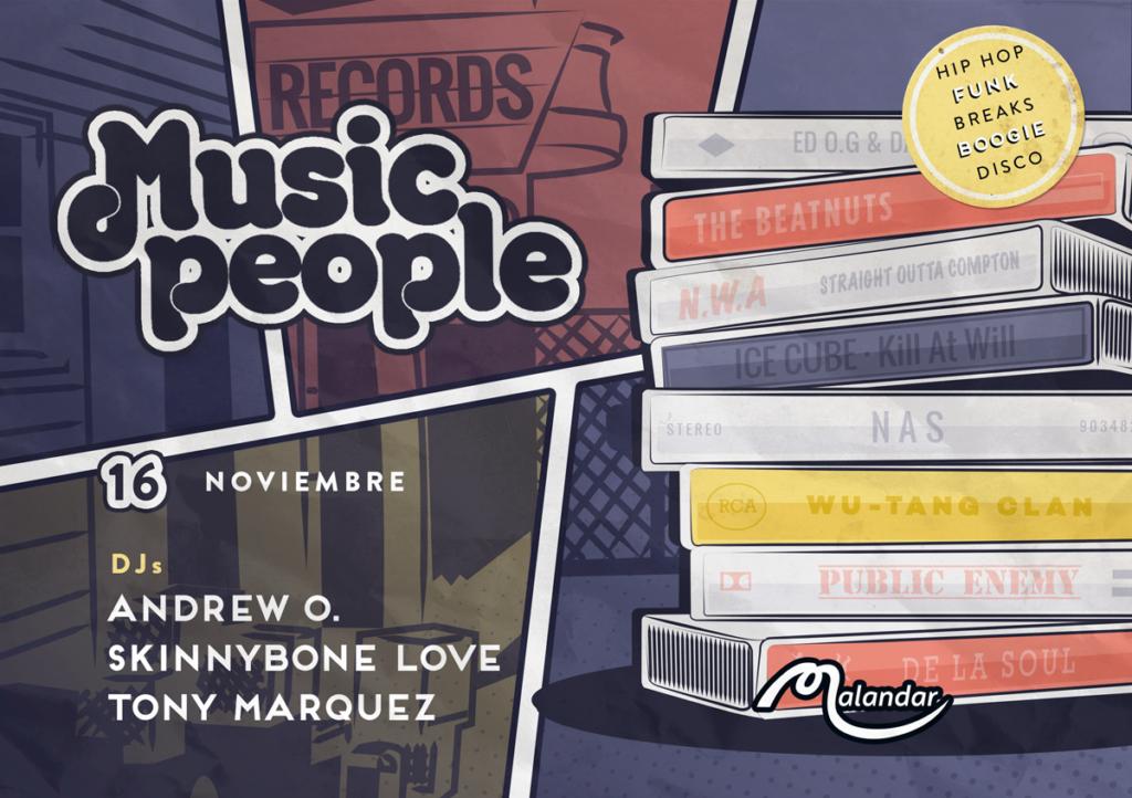 Music People 16, 2019 Flyer - Andrew Oddio, Skinnybone Love, & Tony Marquez